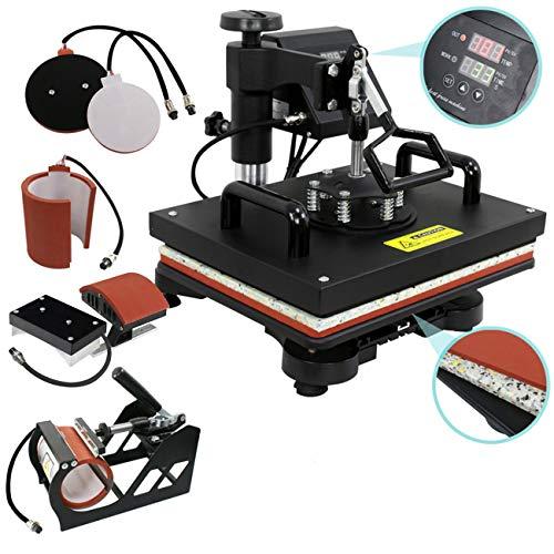 ZENY Digital Heat Press Transfer 5 in 1 Swing Away Heat Press Machine for T-shirt Mug Hat Plate Cap
