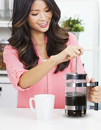 French Coffee Press (Chrome) - 34 oz Espresso and Tea Maker with Triple Filters, Stainless Steel Plunger and Heat Resistant Glass by Utopia Kitchen (Image #4)