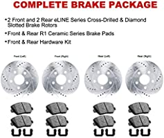 R1 Concepts KEDS10824 Eline Series Cross-Drilled Slotted Rotors And Ceramic Pads Kit Front Disc Only