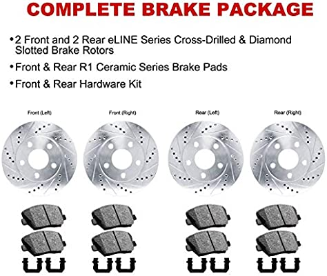 R1 Concepts CEDS10796 Eline Series Cross-Drilled Slotted Rotors And Ceramic Pads Kit Front and Rear