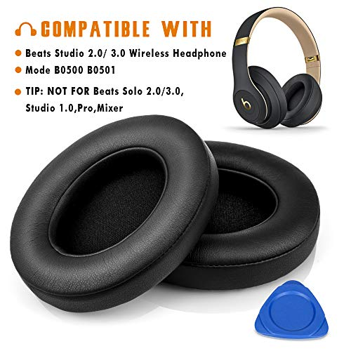 affordable Beats Studio Replacement Ear Pads by Haino- Extreme Comfort Beats Cushions Replacement kit Noise Isolation Adaptive Memory Foam Ear Cover for Beats Studio 2.0  3.0 Wired/Wireless B0500 / B0501