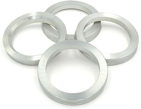 Set of 4 Wheel Hub Rings Alloy Aluminum OD=73.1mm To ID=56.1mm Hubrings Black