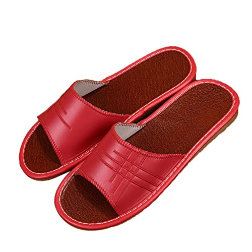 Autumn for and Men Leather W PU Summer Mute Women TELLW Wooden Spring Slippers Rouge Floor zEUFA
