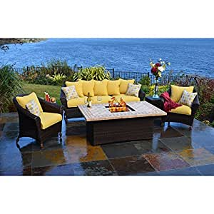 Outdoor Innovations Bellamar 6-Piece All Weather Wicker Fire-Conversation Furniture Set