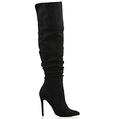 3c024f2ffcd ESSEX GLAM Womens Stiletto High Heel Pointed Toe Slouch Ruched Black Faux  Suede Knee High Boots