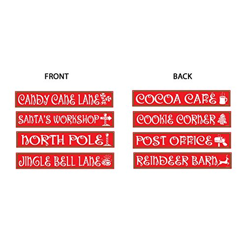 Beistle 4-Pack North Pole Street Sign Cutouts, 4-Inch by 24-Inch ()