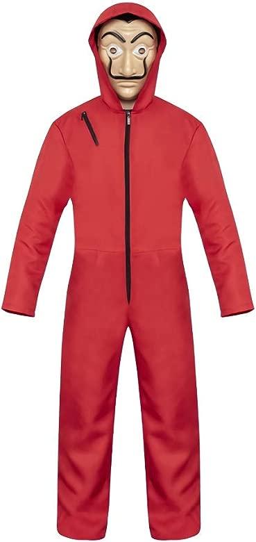 eyenjoy Dali La Casa De Papel Disfraz Rojo con Traje de Máscara Sudadera con Capucha Mono Traje Rojo Traje de Víspera de Todos los Santos