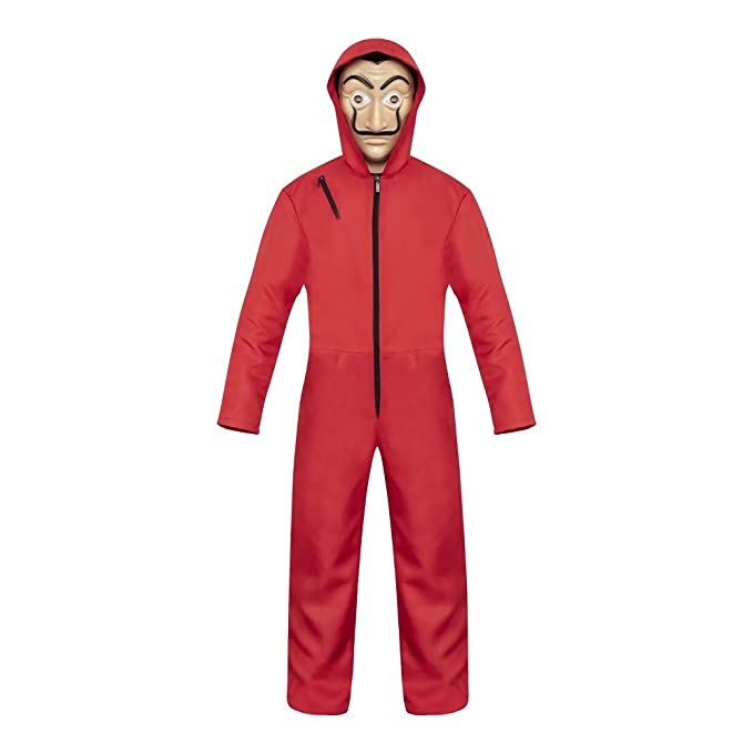 The Paper House Multifunction mask Halloween mask Costume Hoodie Jumpsuit with mask La Casa De Papel Overalls