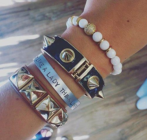 Silver Aluminum ACT LIKE A LADY THINK LIKE A BOSS hand stamped bracelet - Lady Boss Jewelry