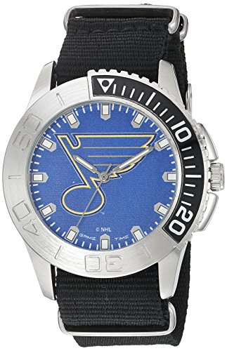 - Game Time Men's 'Starter'  Metal and Nylon Quartz Analog  Watch, Color:Black (Model: NHL-STA-STL)