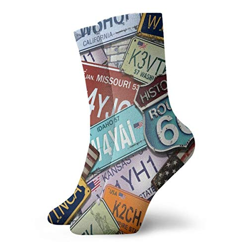 Casual Crew Dress Socks For Girls - American 70s Retro Route 66 License Plate Athletic Socks - Womens Fashion Novelty Gift Short Socks For Wedding Party Everyday