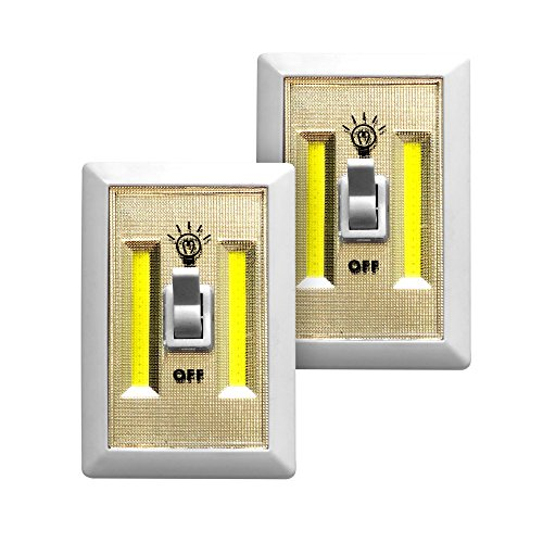 Promier Battery Operated Cordless LED Light Switch, Under Cabinet, Shelf, Baby Nursery, Hallways, Bedrooms, Closets, RVs, Batteries Included! (Pack of 2)