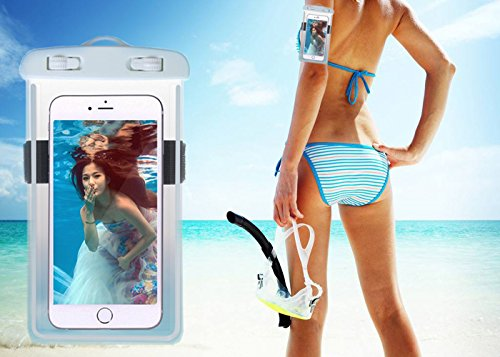 Universal Waterproof Case, Waterproof Phone Pouch Dry Bag with Armband & Neck Strap for iPhone X 8 8Plus 7 7Plus 6S 6SP 6 6Plus, Samsung Galaxy S9/S9 Plus/S8 Plus/Note 8 6 5 up to 6.0'' (White,Black) by CUCIUS (Image #4)