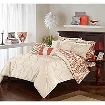 Image of 10 Piece Queen Motif Ruched Pinch Pleated Pattern Comforter Set, Contemporary Country Modern Embroidered Design, Casual Vintage Themed, Elegant Reversible Bedding, Coral Orange, Beige Color Unisex