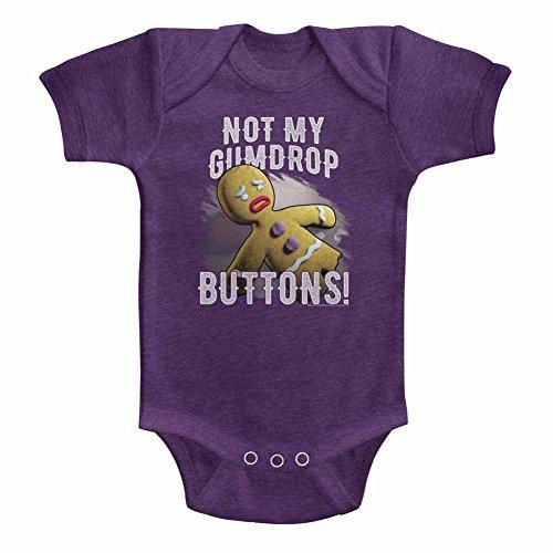 A&E Designs Shrek Infant Bodysuit Gingerbread Man Gumdrop Buttons Vintage Purple Romper 24M -
