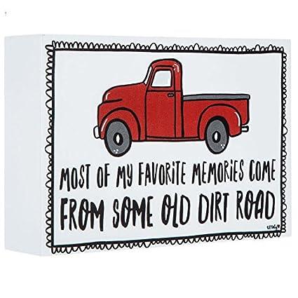 Little Red Farm Truck Wood Block Decor-