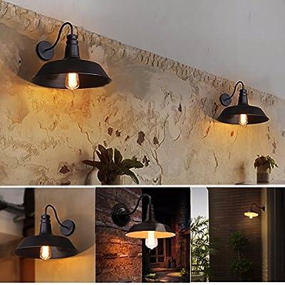 Jeteven Metal 1-light Wall Sconce Lamp Shade Industrial Gooseneck Barn Light Fixtures Restaurant Indoor Living Room for E27 Bulbs,Black