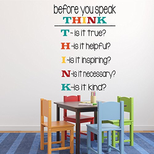 Classroom Decorations Vinyl Wall Decal or Sign for Teachers Classrooms used in Schools - Before You Speak, (2nd Grade Classroom Themes)