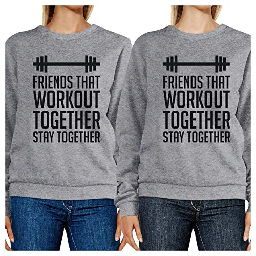 Workout Together shirt Femme Printing Sweat Grey Longues Friends 365 Manches Unique Taille That yqaTnnHx
