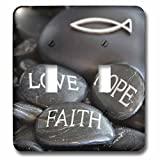 3dRose Andrea Haase Still Life Photography - Black Pebble Engraved, Love Faith Hope - Light Switch Covers - double toggle switch (lsp_268541_2)