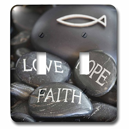 3dRose Andrea Haase Still Life Photography - Black Pebble Engraved, Love Faith Hope - Light Switch Covers - double toggle switch (lsp_268541_2) by 3dRose