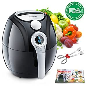 Electric Air Fryer, Blusmart Power Air Frying Technology with Temperature and Time Control LED Display 3.4Qt/3.2L 1400W Fry Basket & Recipe Book