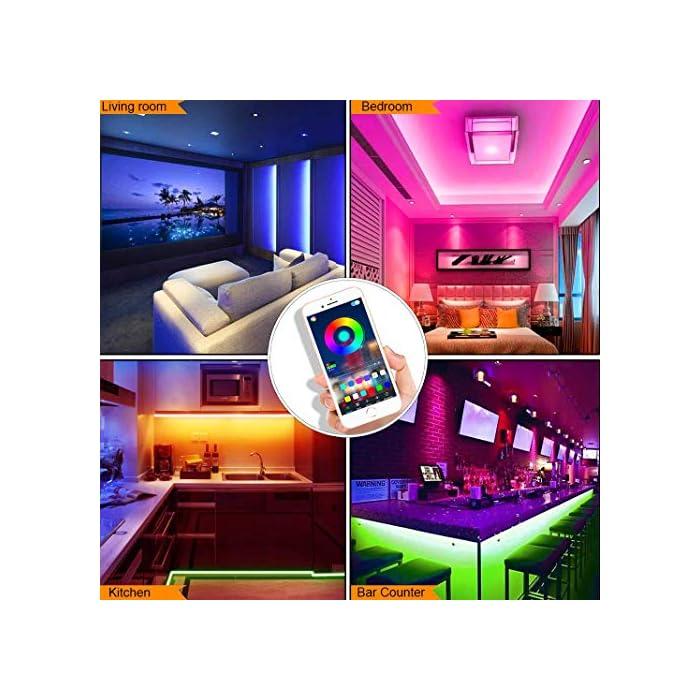 51Tx jiUvML Tira de luces LED SMD5050 que cambian de color de 15 m con sincronización de música que cambia de color + controlador Bluetooth + luces LED remotas para recámara, fiesta y decoración del hogar controlada por APP