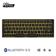 Royal Kludge RK61 Wired/Wireless Bluetooth 3.0 Multi-Device LED Backlit Mechanical Gaming/Office Keyboard for iOS, Android, Windows and Mac with Rechargeable Lithium Battery, Blue Switch -Black