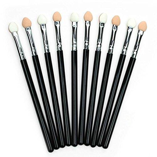BSGSH 10 Pcs Beauty Make Up Application Tool - Eyes Eyelids Smudge Eye Shadow Eyeliner Brush Sponge Applicator Tool Makeup Brush (Black) ()
