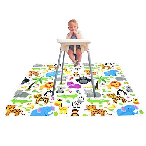 Paw Legend Washable Highchair Splat Floor Mat- Anti-Slip Silicone Spot Splash Mess Mat(53'' X 53'')-Food Catcher Art Craft Leak Proof Mat,Animal