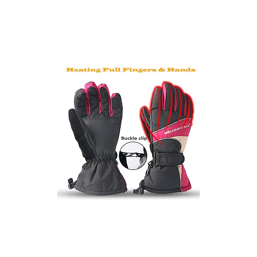 Sweet Mall Heated Gloves Heating Palm and Five Fingers Hands Warmer Rechargealbe Battery Powered 4 6 Hrs for Camping Hiking Cycling Motorcycle Skiing Women M Size