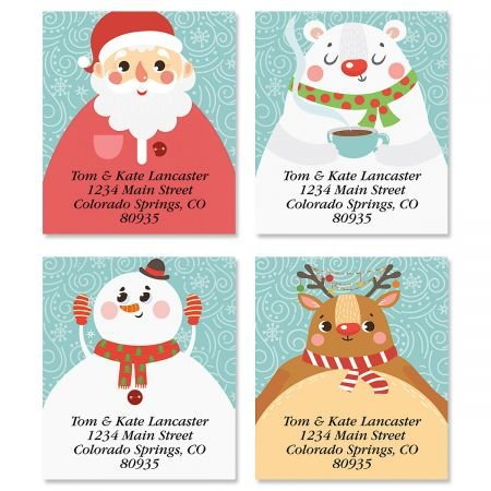 Personalized Christmas Faces Square Address Labels (4 Designs) - Set fo 144 Self-Adhesive, Flat-Sheet holiday (Face Personalized Address Labels)