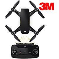 SopiGuard 3M Gloss Black Precision Edge-to-Edge Coverage Vinyl Sticker Skin Controller 3 x Battery Wraps for DJI Spark