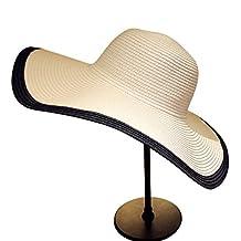 Sombrero de Verano para Mujer Sun Beach Straw Cap Wide Brim Gardening Senderismo Sombrero Blanco Negro, Ajustable 2 Colores Opcional (Color : Blanco)