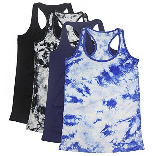 - Semath Women's Sequined Short Sleeve Scoop neck Layering Tank Tops Camisole Vest, X-Large, Black/Black-Blue/Navy/Black-White, 4 Pack