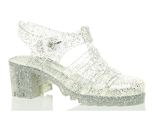 Jelly Shoes (Ajvani Women's Rubber Jelly Chunky Block Mid Heel Buckle Sandals Shoes Size 7 38)