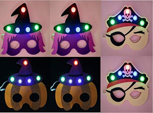 Zoylink 6PCS Halloween New Pumpkin Witch Pirate mask Eye mask Non-Woven Ball Makeup Children's Party Props with Illuminated Masks -
