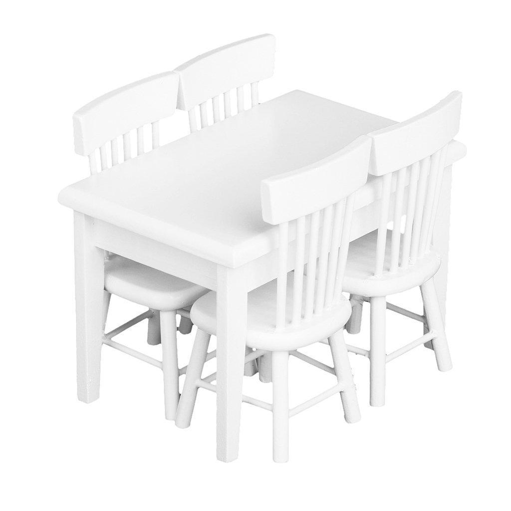 Zungtin 5pcs White Dining Table Chair Model Set 1:12 Dollhouse Miniature Furniture