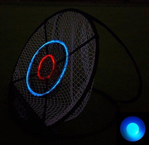 RUGD Sports: Night Chipper - Large 30-inch Indoor/Outdoor Golf Chipping Target Net - Lights Up in the Dark - FREE LED Ball Included Chipper Net