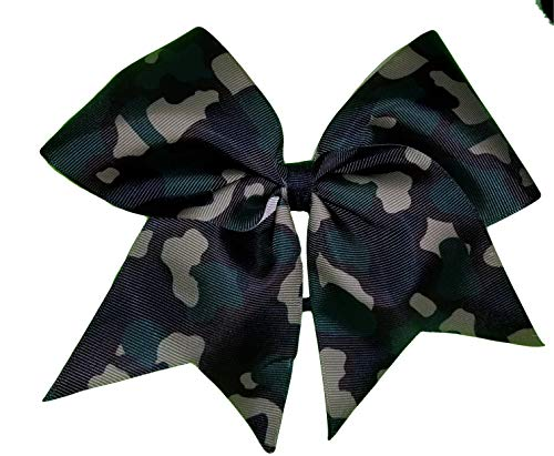 (Cheer Bows Full Camo Camouflage Military Support Hair Bow)