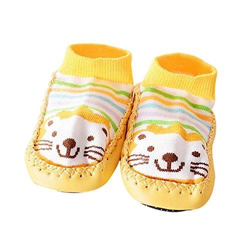 BESSKY Baby's Cartoon Toddler Anti-slip Shoes Boots Slipper Socks (13, Yellow)