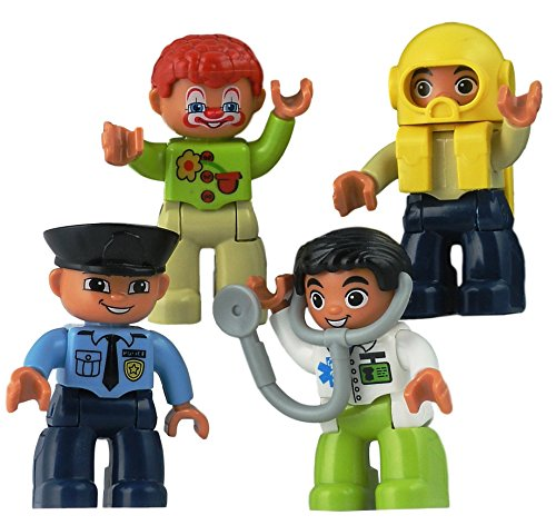 Policeman, Doctor, Clown & Scuba Diver. Lego-Compatible Figurines