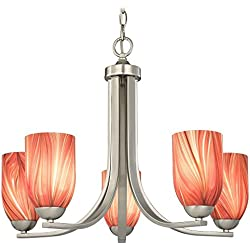 Chandelier with Red Art Glass in Satin Nickel Finish