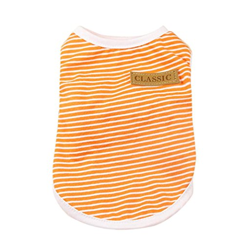 2018 Hot Sale!Clearance!Dog Clothes❤️ZYEE❤️New Pet Dog Puppy Classic Vest T-shirt Dog Clothes Striped Vest Apparel Summer (S, Orange) (T-shirts Personalized Dog)