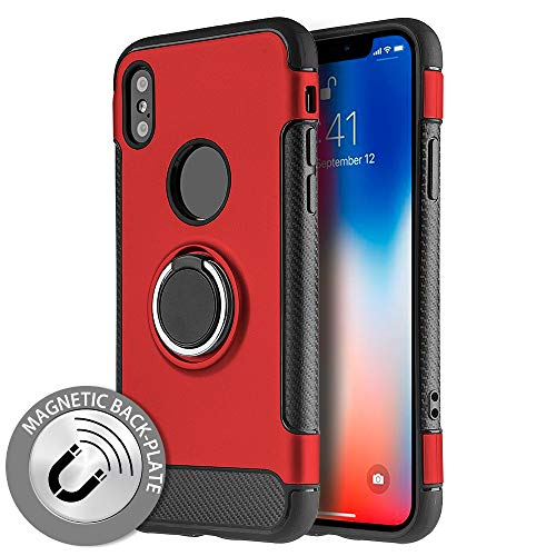 (Lightweight Heavy Duty Sports Hybrid Magnetic Circle Stand Protector Case Apple iPhone X [Red])