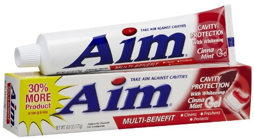 Aim Cavity Protection with Whitening Anticavity Fluoride Toothpaste, Cinna Mint Gel, 6 Oz (Pack of 6) ()