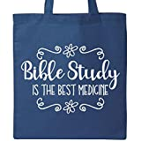 Inktastic Bible Study Best Medicine WHT Tote Bag Royal Blue