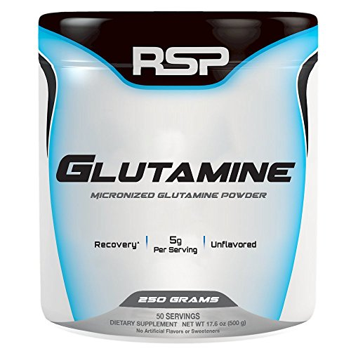 RSP Glutamine Pure Micronized Glutamine Powder, Post Workout Muscle Recovery Supplement for Men and Women, Unflavored, 250g