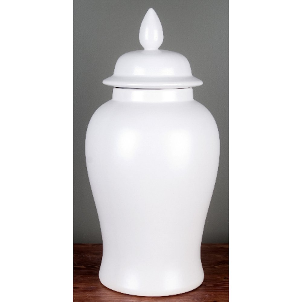 Home decor. Creamy White Ginger Jar. Dimension: 9 x 9 x 18. Pattern: Solid Porcelain. by OD001