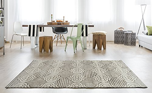 Adgo Milano Collection Modern Contemporary Trellis Lattice Moroccan Design Jute Backed Area Rugs High Pile Soft and Fluffy Indoor Floor Rug, Walnut Ivory, 6'6